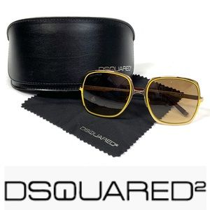 NEW w case DSQUARED2 womens gold yellow sunglasses